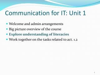 Communication for IT: Unit 1