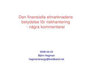 Den finansiella elmarknadens  betydelse för riskhantering - några kommentarer