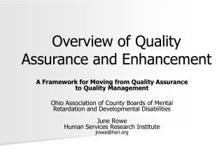 Overview of Quality Assurance and Enhancement