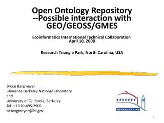 Open Ontology Repository --Possible interaction with GEO/GEOSS/GMES