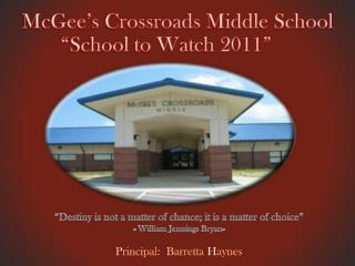 McGee�s Crossroads Middle School