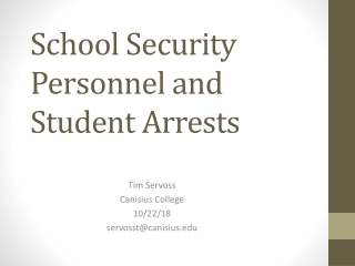 School Safety and the Law