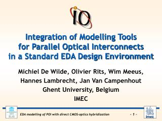 Integration of Modelling Tools for Parallel Optical Interconnects in a Standard EDA Design Environment