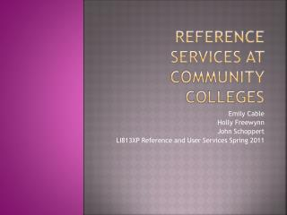 Reference services at Community colleges