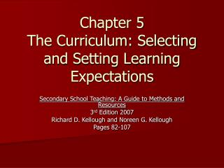 Chapter 5 The Curriculum: Selecting and Setting Learning Expectations