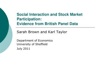 Social Interaction and Stock Market Participation:  Evidence from British Panel Data