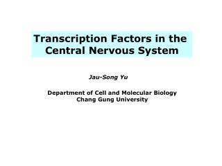 Transcription Factors in the  Central Nervous System