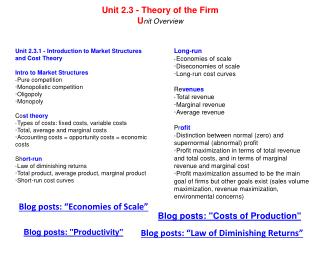 Unit 2.3.1 - Introduction to Market Structures and Cost Theory Intro to Market Structures