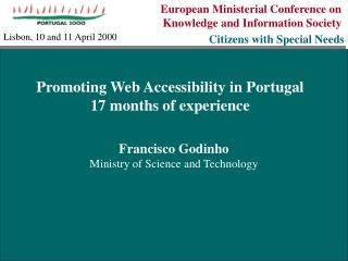 European Ministerial Conference on  Knowledge and Information Society Citizens with Special Needs