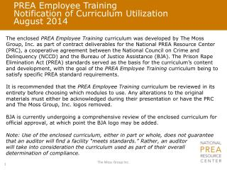 PREA Employee Training Notification of Curriculum Utilization August 2014