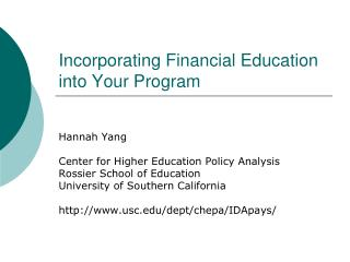 Incorporating Financial Education into Your Program