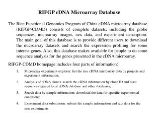RIFGP cDNA Microarray Database