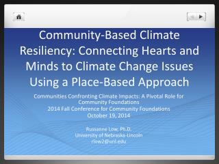 Communities Confronting Climate Impacts: A Pivotal Role for Community Foundations