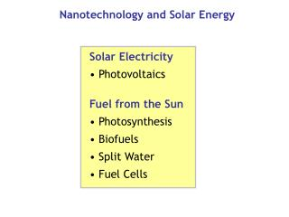 Nanotechnology and Solar Energy