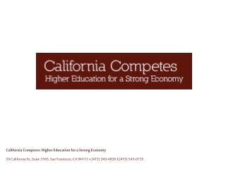 California Competes: Higher Education for a Strong Economy