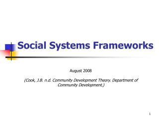 Social Systems Frameworks