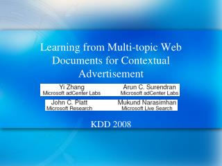 Learning from Multi-topic Web Documents for Contextual Advertisement