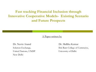 A Paper written by Dr.  Navin Anand             Dr.  Mallika  Kumar