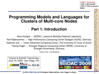 Programming Models and Languages for Clusters of Multi-core Nodes Part 1: Introduction