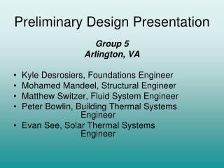 Preliminary Design Presentation