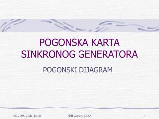 POGONSKA KARTA SINKRONOG GENERATORA