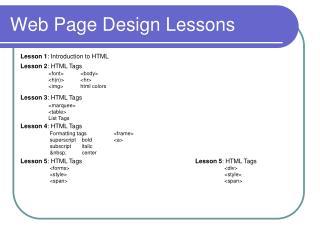 Web Page Design Lessons
