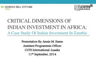 Critical Dimensions of Indian Investment in Africa:  A  Case Study Of Indian Investment In Zambia