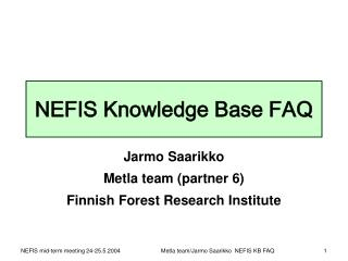 NEFIS Knowledge Base FAQ