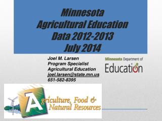 Minnesota  Agricultural Education  Data 2012-2013 July 2014
