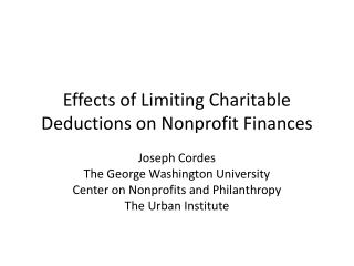 Effects of Limiting Charitable Deductions on Nonprofit Finances