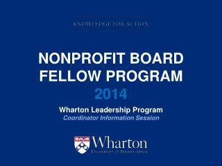 Nonprofit Board  Fellow Program    2014
