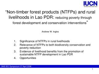Significance of NTFPs in rural livelihoods