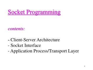 Client/Server Model (1)