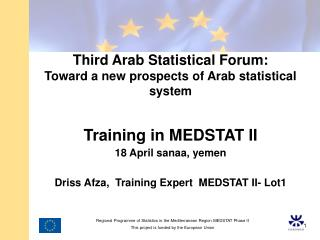 Third Arab Statistical Forum: Toward a new prospects of Arab statistical system  Training in MEDSTAT II  18 April sanaa,
