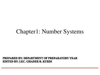 Chapter1: Number Systems