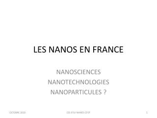 LES NANOS EN FRANCE