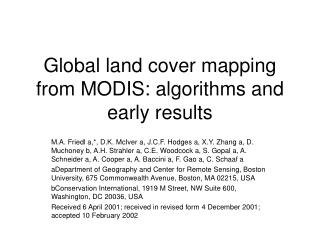 Global land cover mapping from MODIS: algorithms and early results