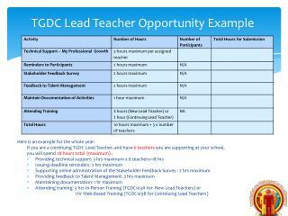 TGDC Lead Teacher  Opportunity Example