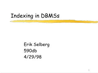 Indexing in DBMSs