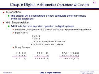 Chap. 6 Digital Arithmetic:  Operations & Circuits