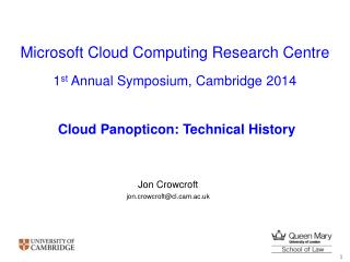 Microsoft Cloud Computing Research Centre
