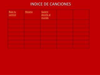 INDICE DE CANCIONES