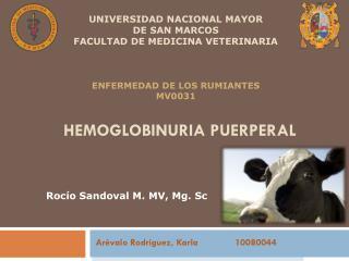 Hemoglobinuria  PUERPERAL