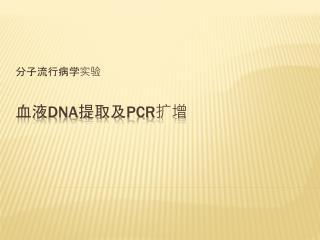 血液 DNA 提取及 PCR 扩增