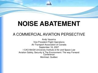 NOISE ABATEMENT A COMMERCIAL AVIATION PERSECTIVE