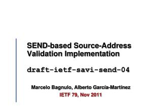 SEND-based Source-Address Validation Implementation  draft-ietf-savi-send-04