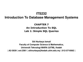 ITS232 Introduction To Database Management Systems