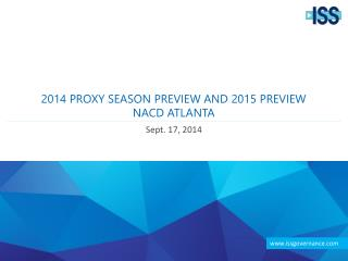 2014 Proxy Season Preview and 2015 Preview NACD  Atlanta