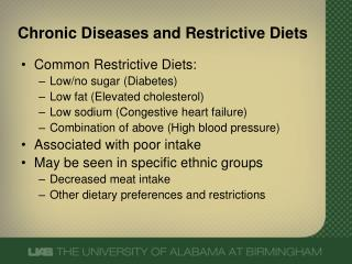 Chronic Diseases and  Restrictive  Diets