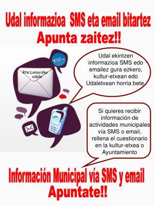 Udal informazioa  SMS eta email bitartez